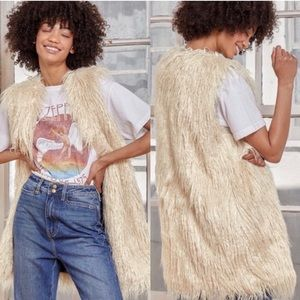 Free People Beautiful Cream Faux Fur Fully Lined Long Shag Vest NWT